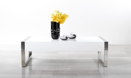Stunning Variety Of Coffee Tables With Chrome Legs Inside Contemporary White Coffee Table With Chrome Legs (Image 48 of 50)