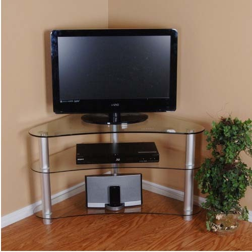 Stunning Variety Of Curve TV Stands Intended For Rta Tier One Designs Curved 37 Corner Tv Stand Clear Glass T1d (View 42 of 50)