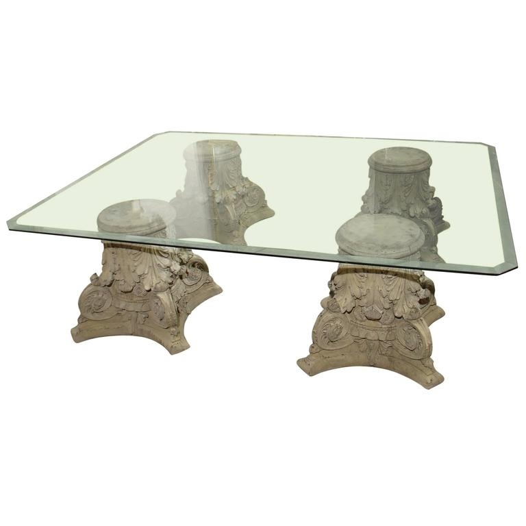 Stunning Variety Of Glass And Stone Coffee Table With Regard To Beveled Glass Top Coffee Table On Cast Stone Corinthian Capital (Image 44 of 50)