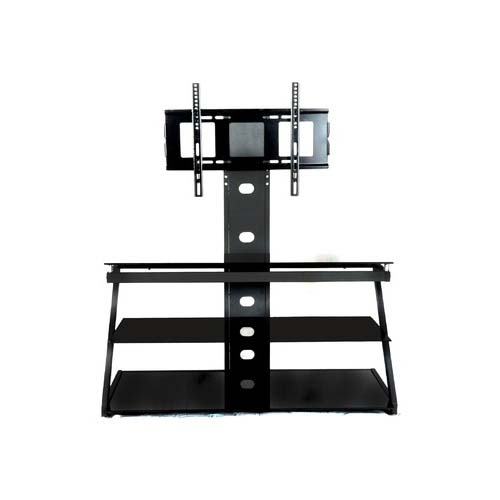 Stunning Variety Of Glass TV Stands Throughout Rta Tier One Designs 60 Black Glass Tv Stand With Tv Mount Black (View 25 of 50)