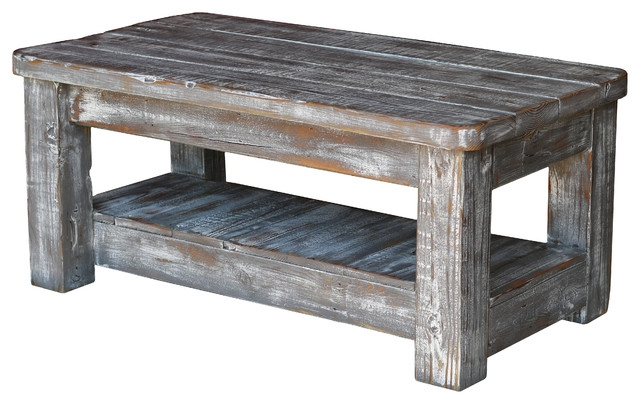 Stunning Variety Of Gray Wood Coffee Tables Within Weathered Gray Coffee Table With Shelf Rustic Coffee Tables (Image 45 of 50)