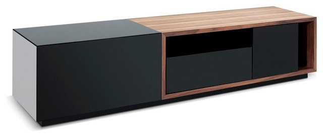Stunning Variety Of Modern Walnut TV Stands Throughout Tv047 Modern Tv Stand In Black High Gloss And Walnut Finish (Image 47 of 50)