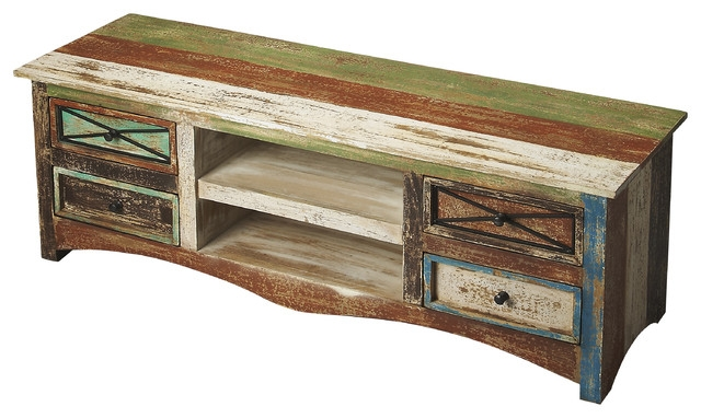 Stunning Variety Of Rustic TV Cabinets Within Butler Decatur Recycled Wood Entertainment Console Rustic (Image 45 of 50)