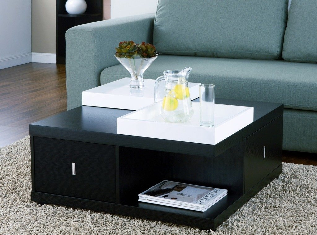 Stunning Variety Of Square Storage Coffee Table Regarding Modern Square Black Storage Coffee Table With White Serving Trays (Image 46 of 50)