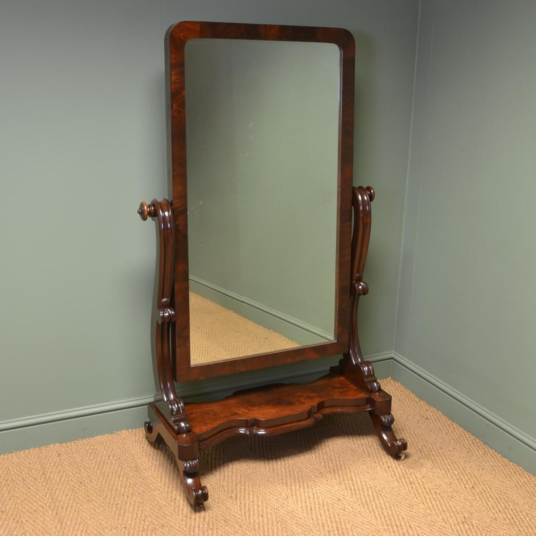 Stunning Victorian Full Length Mahogany Antique Cheval Mirror Inside Victorian Full Length Mirror (Image 17 of 20)