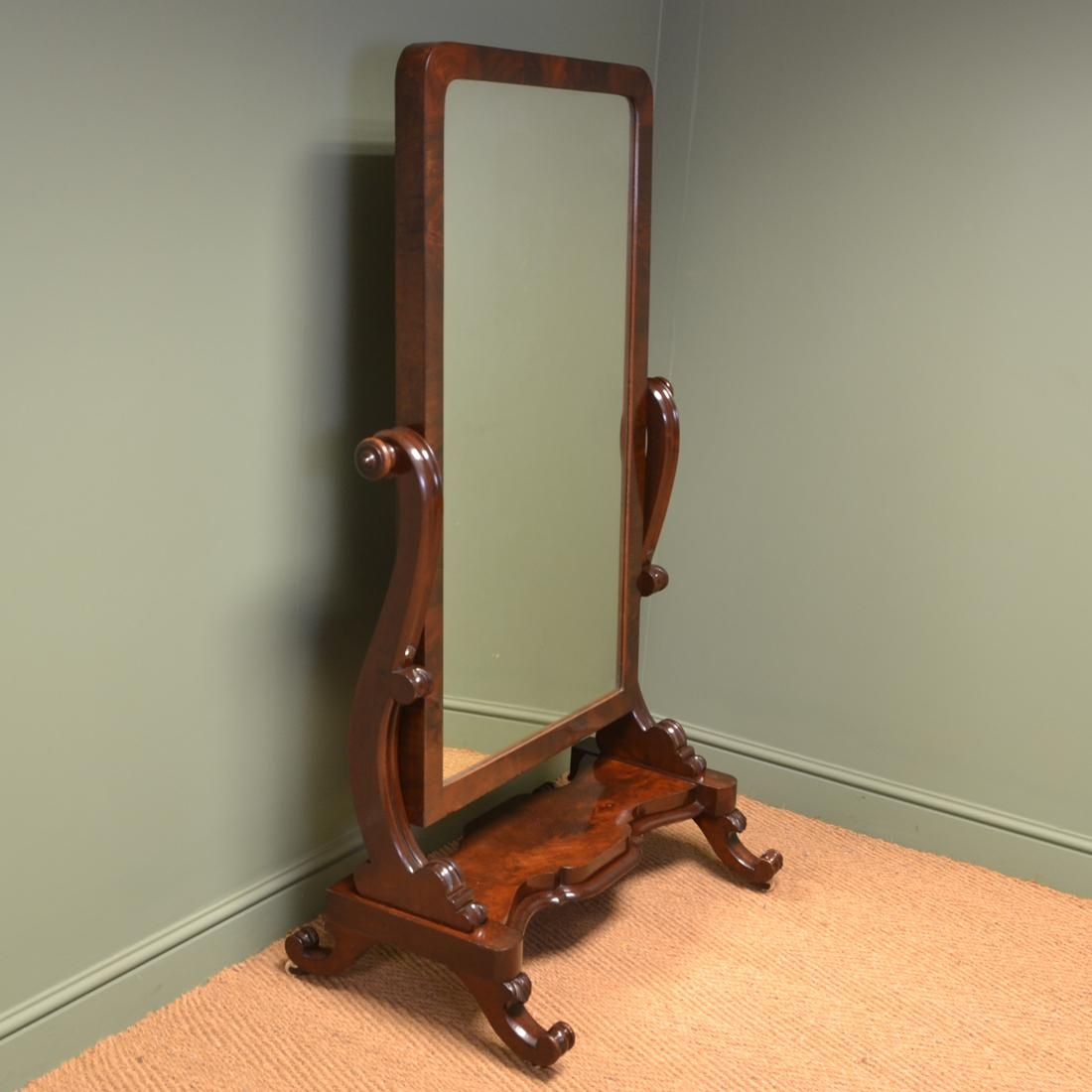 Stunning Victorian Full Length Mahogany Antique Cheval Mirror With Victorian Full Length Mirror (Image 18 of 20)