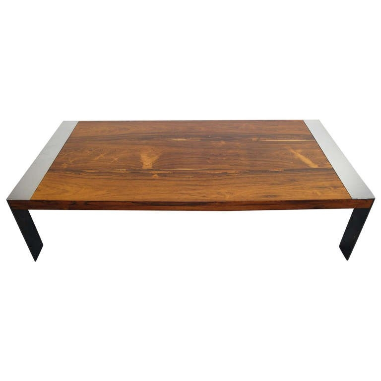 Stunning Wellknown Chrome And Wood Coffee Tables Regarding Milo Baughman Rosewood And Chrome Coffee Table At 1stdibs (View 43 of 50)