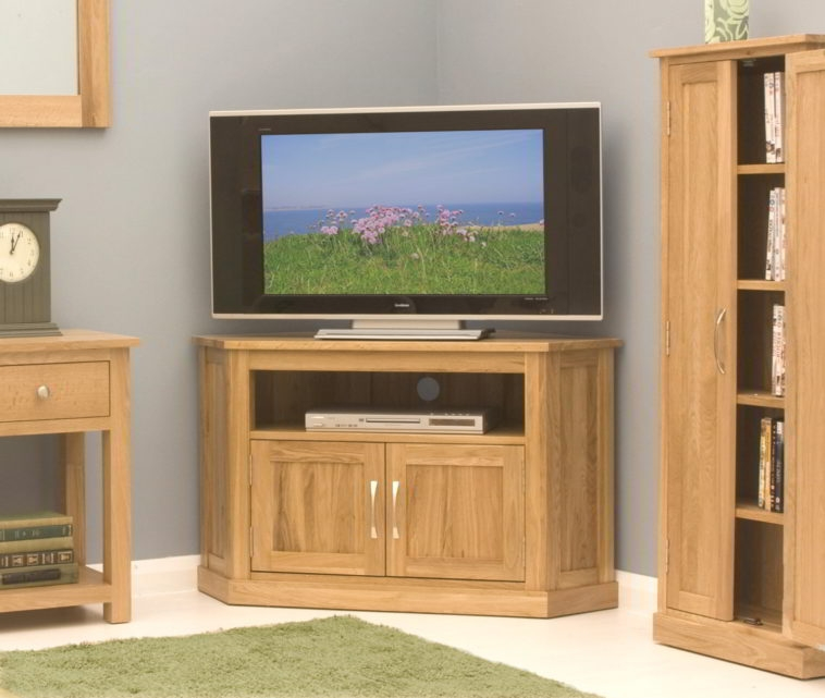 Stunning Wellknown Corner Oak TV Stands With Regard To Furniture Oak Wood Media Cabinet With Tv Stand And Open Shelf (Image 46 of 50)