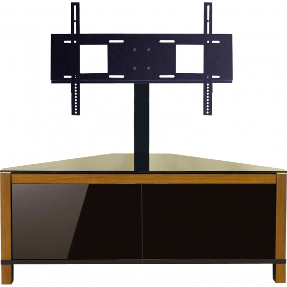 Stunning Well Known Corner TV Stands With Bracket Inside Furniture Brown Varnished Wooden Entertainment Center With Media (Image 40 of 50)