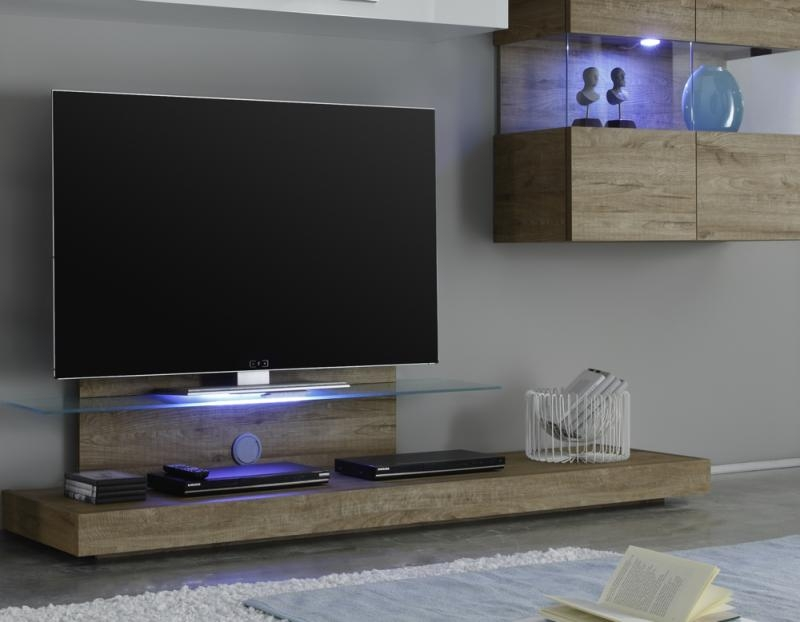 Stunning Wellknown Honey Oak TV Stands With Regard To Modern Wall Mounted Tv Unit With White Gloss Modular Storage (View 11 of 50)
