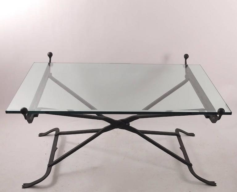Stunning Wellknown Iron Glass Coffee Table Regarding Wrought Iron Glass Top Coffee Table In The Gothic Style For Sale (Image 48 of 50)