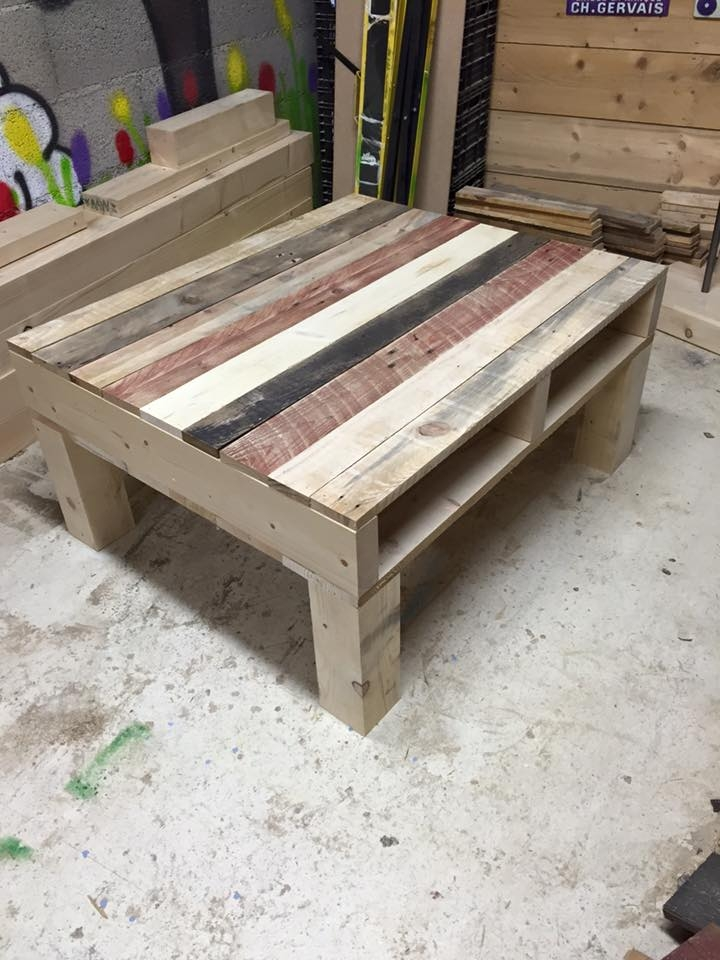 Stunning Well Known Square Shaped Coffee Tables Inside Pallet Coffee Table From Reclaimed Wood 99 Pallets (View 36 of 50)