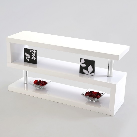 Stunning Well Known White High Gloss TV Stands Unit Cabinet Pertaining To Miami Lcd Tv Stand In White High Gloss 16400 Furniture In (Image 44 of 50)