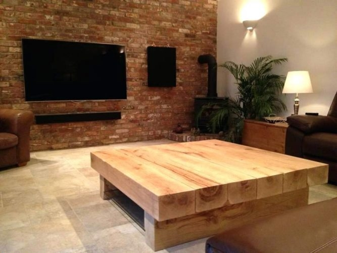 Stunning Wellliked Large Low Rustic Coffee Tables Inside Coffee Table Vancoouver Rustic Oak Large Square Coffee Table (Image 45 of 50)