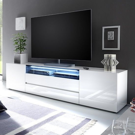 Stunning Wellliked Long White TV Cabinets Regarding Best 20 Black Gloss Tv Unit Ideas On Pinterest Floating Tv Unit (Image 46 of 50)