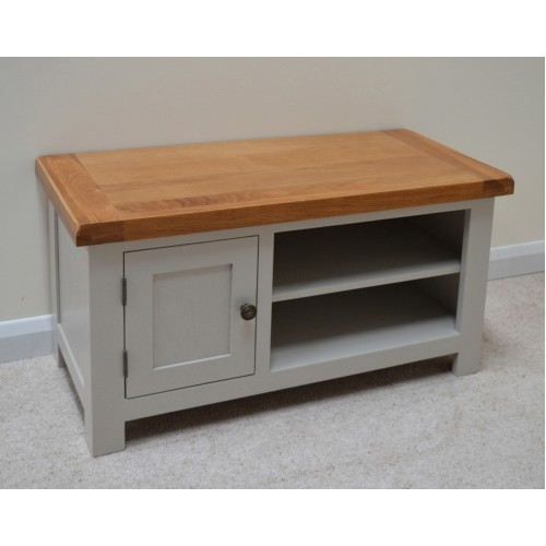 Stunning Wellliked Oak Veneer TV Stands Throughout Stone Grey Painted Oak Tv Stand Entertainment Unit (View 17 of 50)