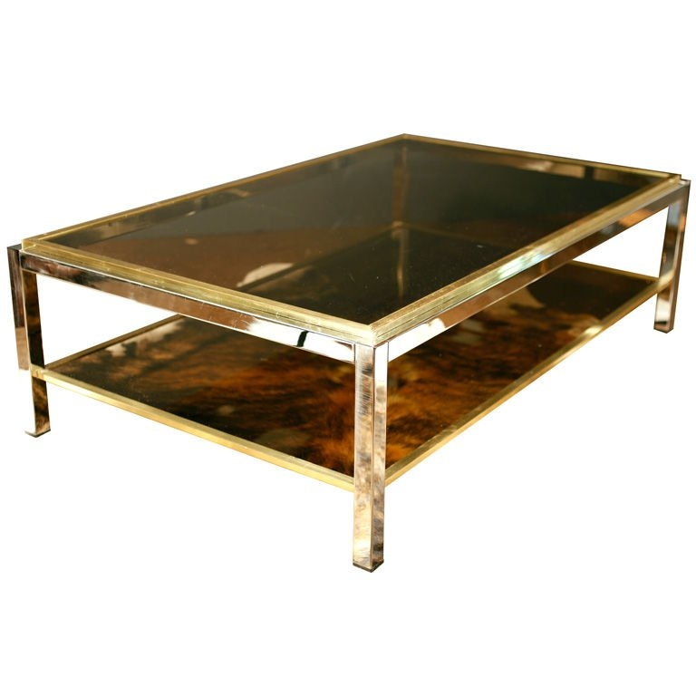 Stunning Wellliked Retro Smoked Glass Coffee Tables Within Important Vintage Chrome Brass And Smoked Glass Coffee Table At (View 9 of 40)