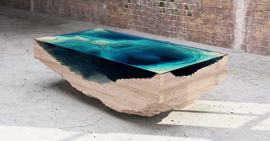 Stunning Wellliked Swirl Glass Coffee Tables With Coffee Table Made Of Layered Glass To Resemble The Depths Of The Ocean (Image 44 of 50)