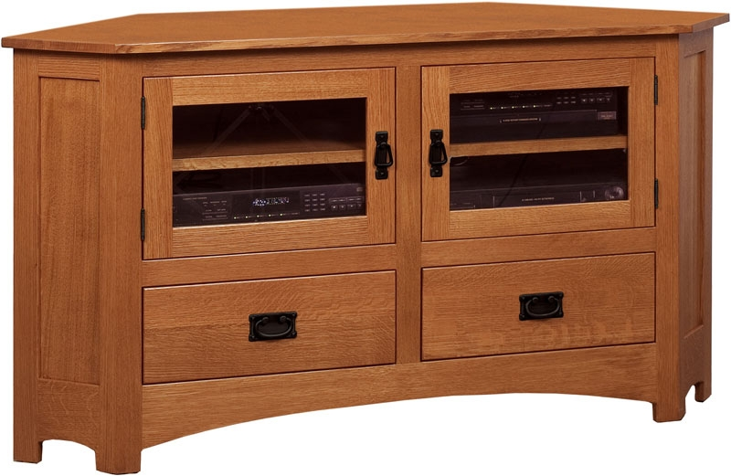 Stunning Wellliked Wood Corner TV Cabinets Regarding Belk Amish Mission Corner Tv Cabinet (Image 42 of 50)