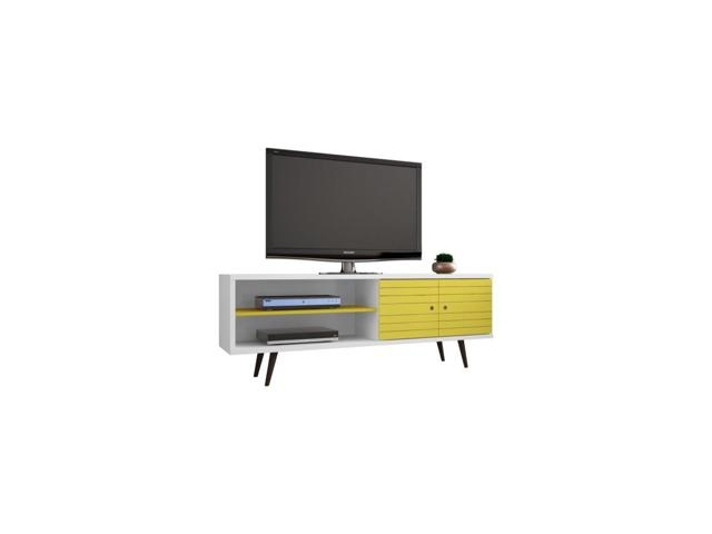 Stunning Wellliked Yellow TV Stands With Liberty 6299 Mid Century Modern Tv Stand With 3 Shelves And (View 50 of 50)