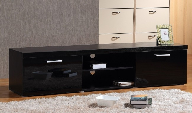 Stunning Widely Used Black TV Cabinets With Drawers Throughout Brand New Modern Large 2m Tv Stand Cabinet Unit With High Gloss (Image 47 of 50)
