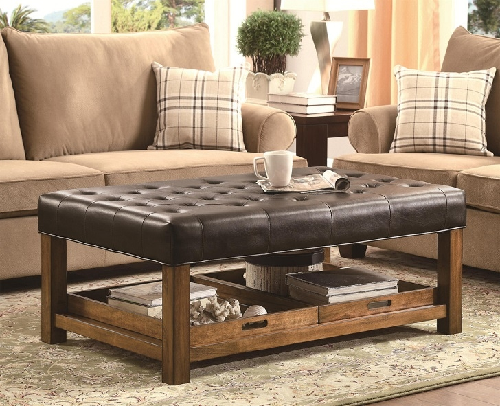 Stunning Widely Used Brown Leather Ottoman Coffee Tables With Storages Intended For Square Leather Storage Ottoman Coffee Table (Image 37 of 40)