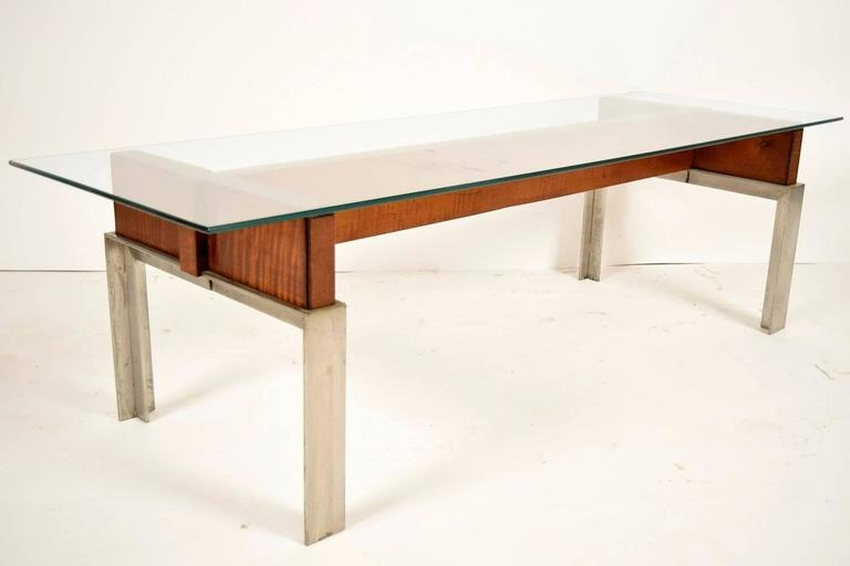 Stunning Widely Used Chrome And Wood Coffee Tables Within Mid Century Modern Chrome And Wood Coffee Table For Sale At 1stdibs (Image 45 of 50)