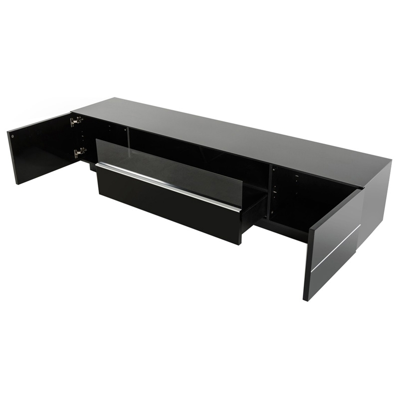 Stunning Widely Used Contemporary Black TV Stands Pertaining To Buy The Modrest Caeden Contemporary Black High Gloss Tv Stand (View 22 of 50)