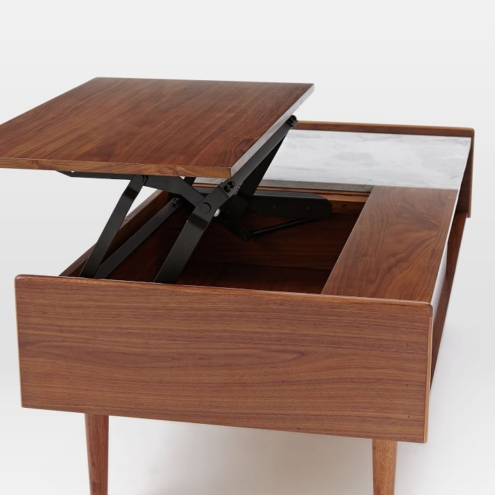 Stunning Widely Used Desk Coffee Tables Inside Mid Century Pop Up Storage Coffee Table Walnut West Elm (Image 46 of 50)