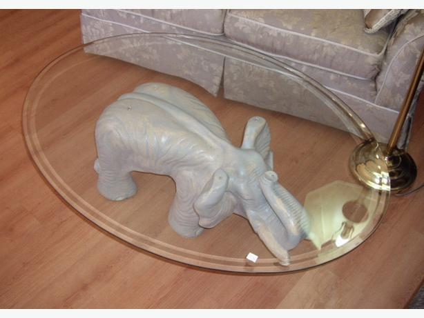 Stunning Widely Used Elephant Glass Coffee Tables Within Fabulous Elephant Coffee Table With Oval Glass Top Chemainus Cowichan (Image 39 of 40)