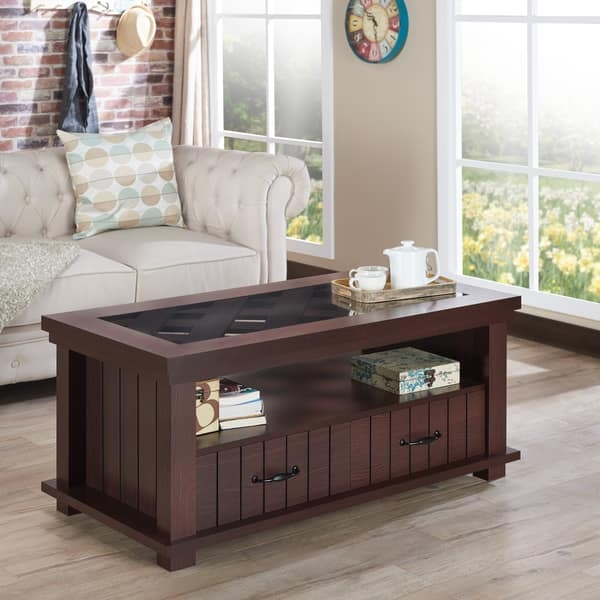 Stunning Widely Used Espresso Coffee Tables With Furniture Of America Cresci Rustic Glass Top 2 Drawer Espresso (View 46 of 50)