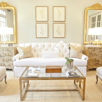 Stunning Widely Used French White Coffee Tables Throughout Cream Tufted Settee With French Brass Coffee Table Transitional (View 28 of 50)