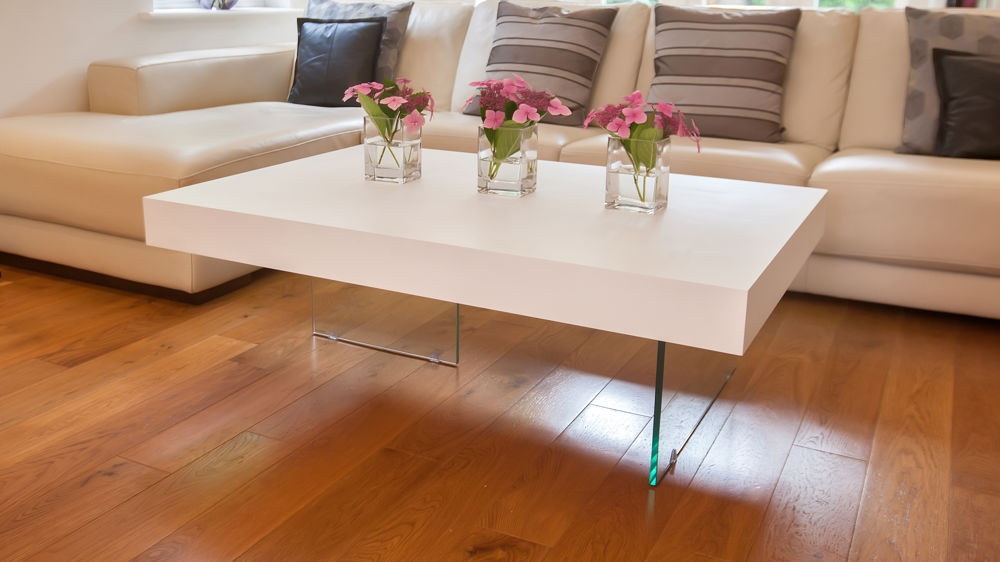Stunning Widely Used Glass Oak Coffee Tables Regarding Large Modern White Oak Coffee Table Funky Tempered Clear Glass Legs (Image 47 of 50)