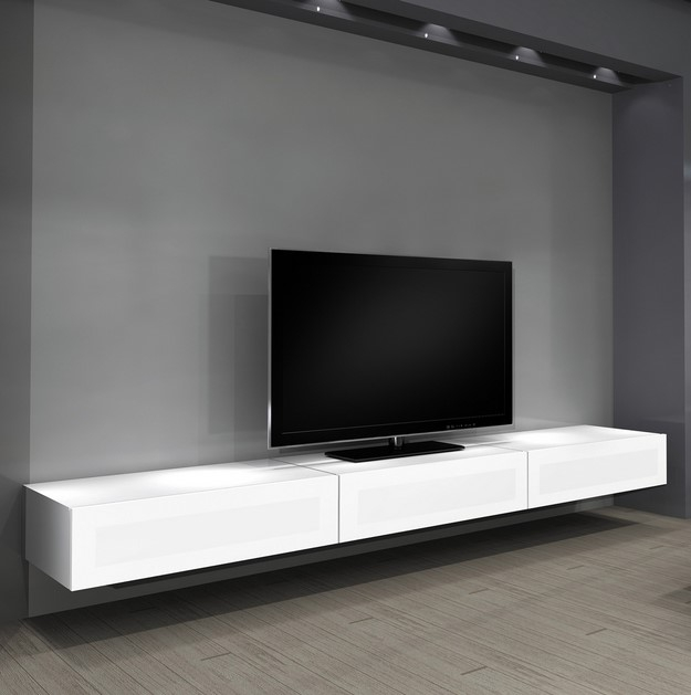 Stunning Widely Used Long White TV Cabinets Inside Wall Shelves Design Wall Mounted Entertainment Shelves Center (Image 47 of 50)
