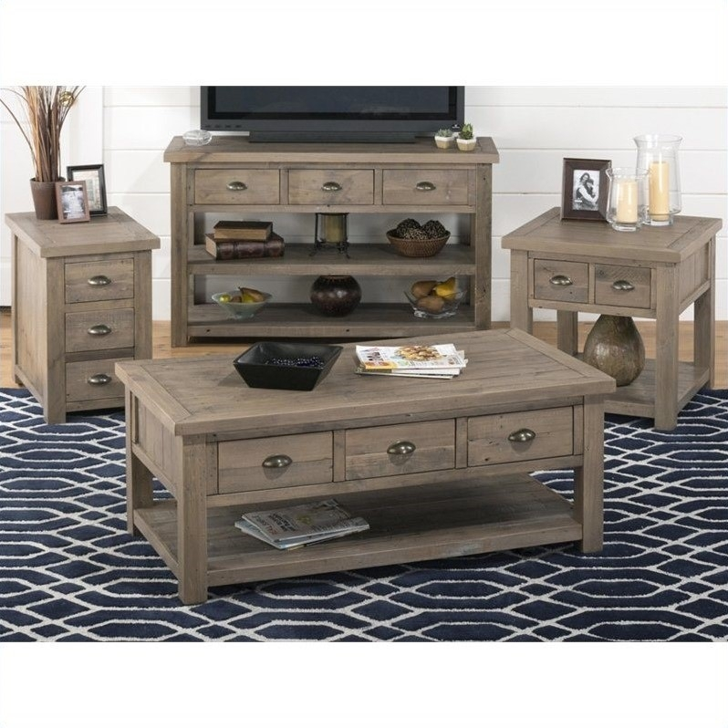Stunning Widely Used Tv Unit And Coffee Table Sets For Jofran 940 Series 4 Piece Coffee Table Set In Slater Mill Pine (Image 49 of 50)