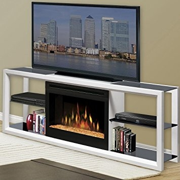 Stunning Widely Used White TV Stands Inside Amazon Novara 64 Tv Stand With Electric Fireplace Finish (View 30 of 50)