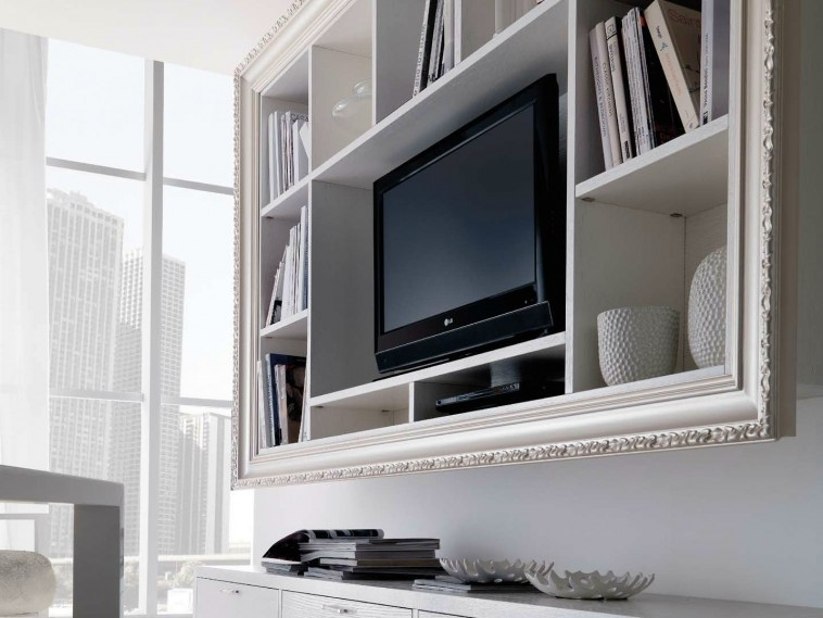 Stunning Widely Used White Wall Mounted TV Stands Inside Furniture White Wooden Wall Mounted Tv Cabinet With Book Shelf (Image 46 of 50)