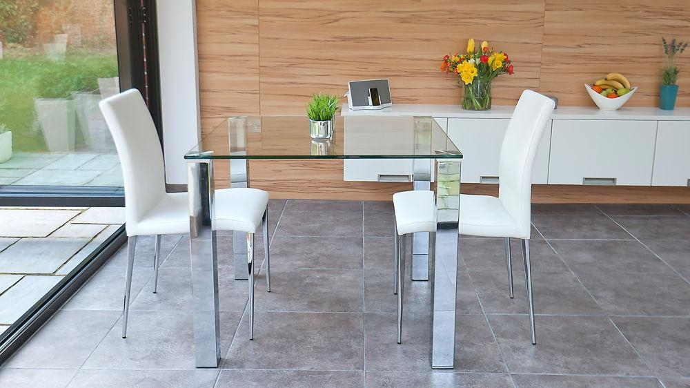 Stylish Small Dining Set | Chrome And Clear Glass | Modern Chairs With Dining Tables And 2 Chairs (Image 17 of 20)