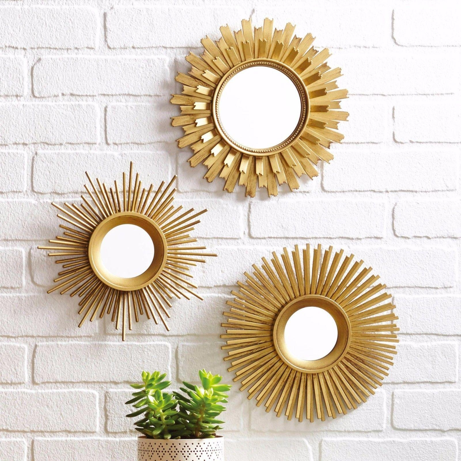 Sunburst Gold Set Of 3 Unique Starburst With Round Mirrors Wall Throughout Gold Round Mirrors (Image 18 of 20)