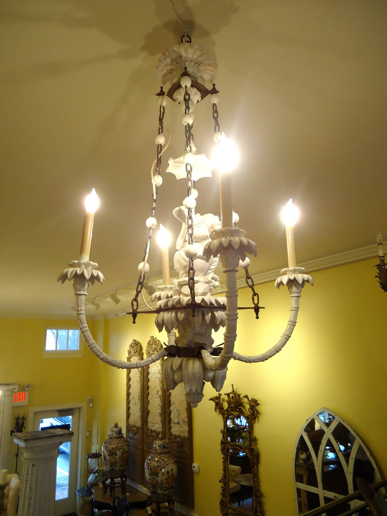 Super Chic Carved Wood Chinoiserie Style Monkey Chandelier At 1stdibs Inside Chinoiserie Chandeliers (Image 22 of 25)