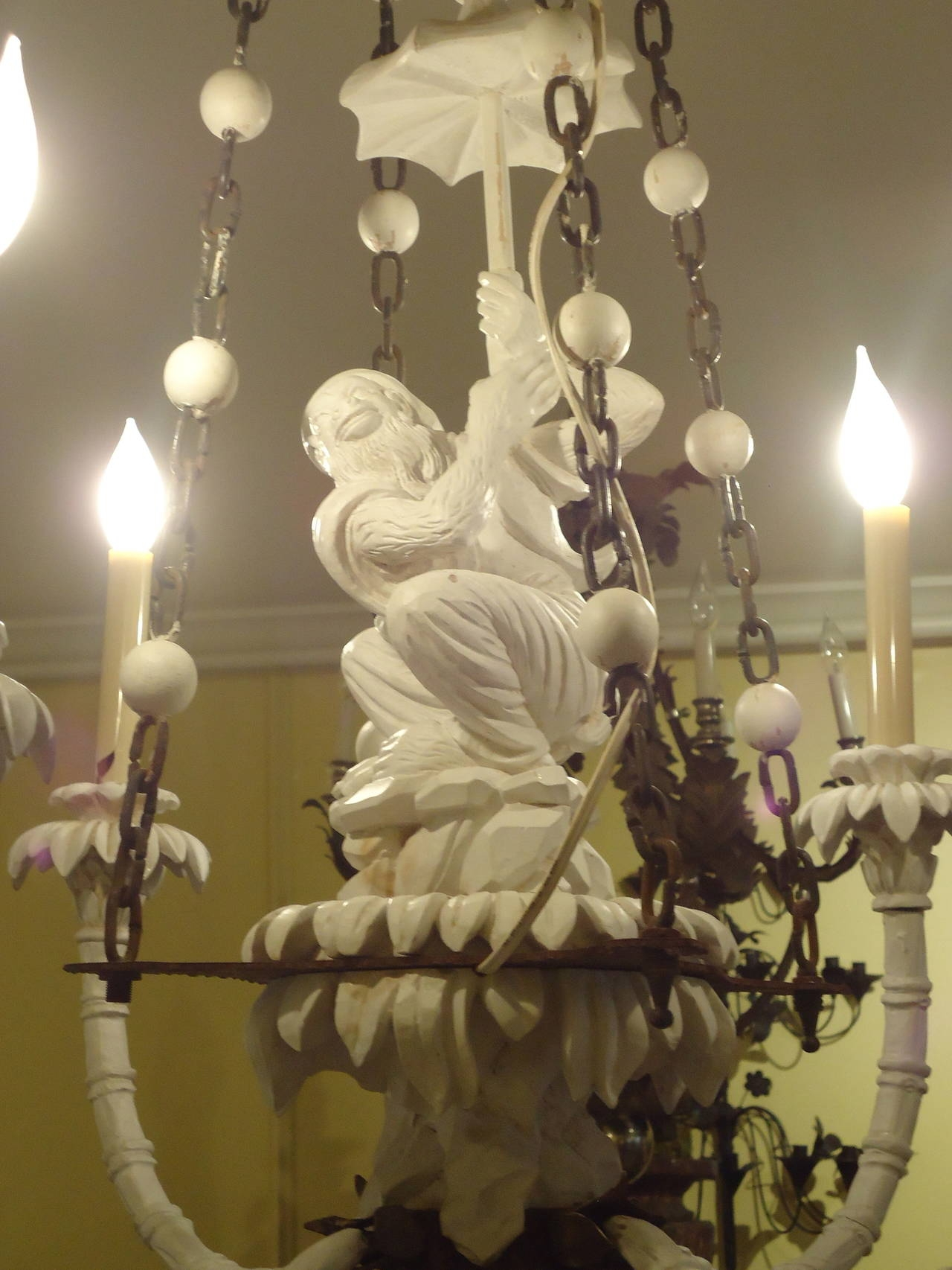 Super Chic Carved Wood Chinoiserie Style Monkey Chandelier At 1stdibs Inside Chinoiserie Chandeliers (Image 21 of 25)