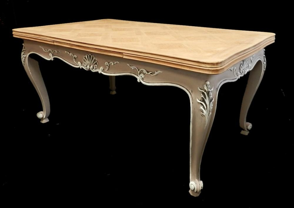 Superb French Extending Dining Table Solid Oak Parquet Top Early Intended For French Extending Dining Tables (Image 19 of 20)