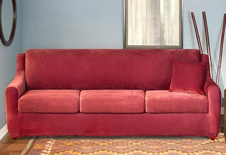 Sure Fit – Stretch Piqué 3 Seat Sleeper Sofa With Regard To 3 Piece Sofa Slipcovers (View 7 of 20)