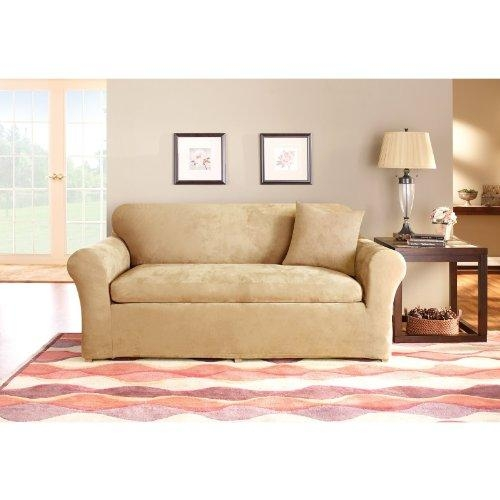 Sure Fit Stretch Suede 3 Piece Sofa Slipcover, Taupe With Regard To 3 Piece Sofa Slipcovers (Image 19 of 20)