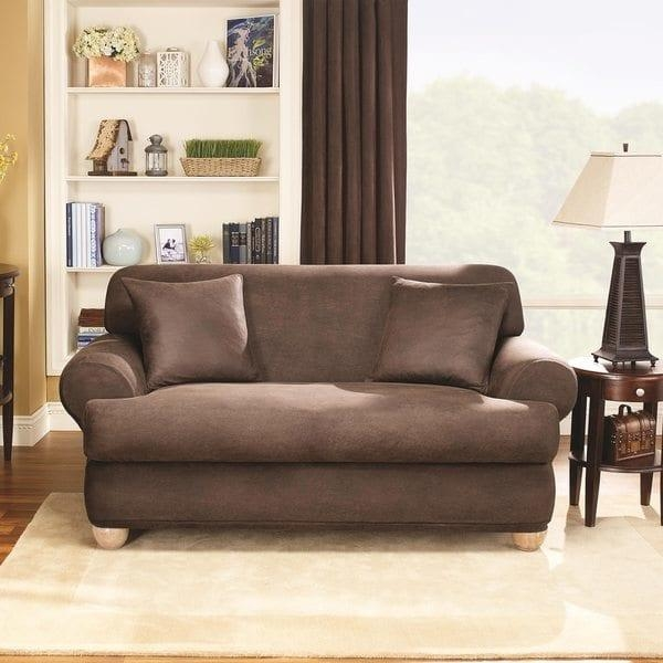 Sure Fit Stretch T Cushion 2 Piece Loveseat Slipcover – Free In Loveseat Slipcovers T Cushion (Image 19 of 20)