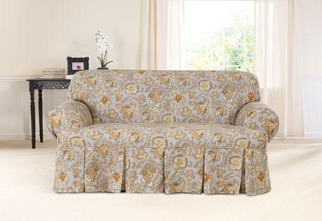 Sure Fit – Tennysonwaverly™ One Piece T Cushion Slipcovers Regarding Loveseat Slipcovers T Cushion (Image 14 of 20)