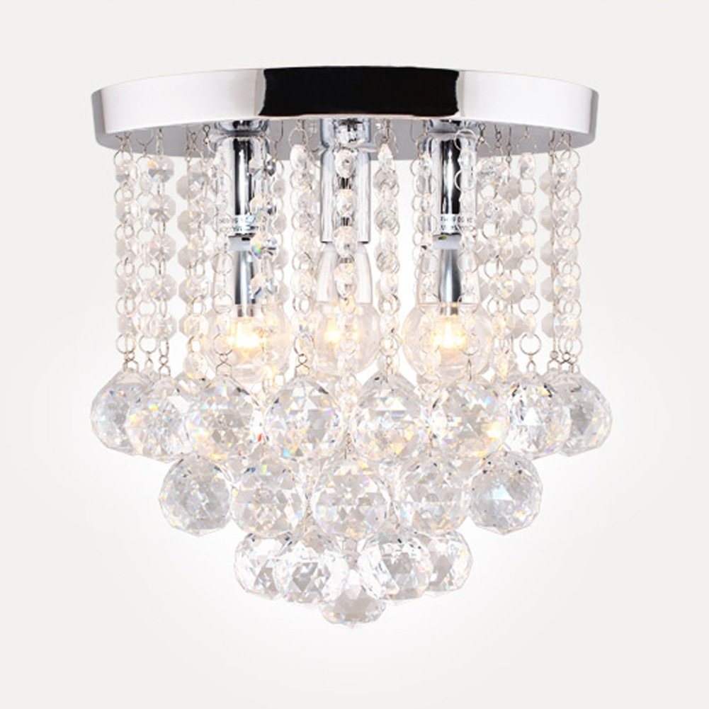 Surpars House Crystal Chandelier 3 Lights 11 W 10 H Silver Throughout Short Chandelier Lights (Image 22 of 25)
