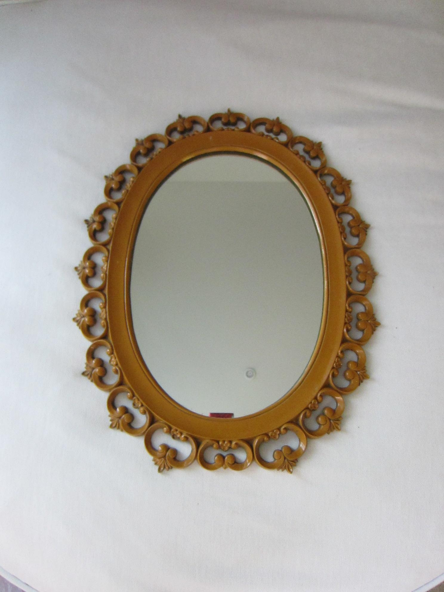 Syroco Wood Mirror Vintage Open Work For Sale | Antiques With Regard To Ornamental Mirror (Image 18 of 20)