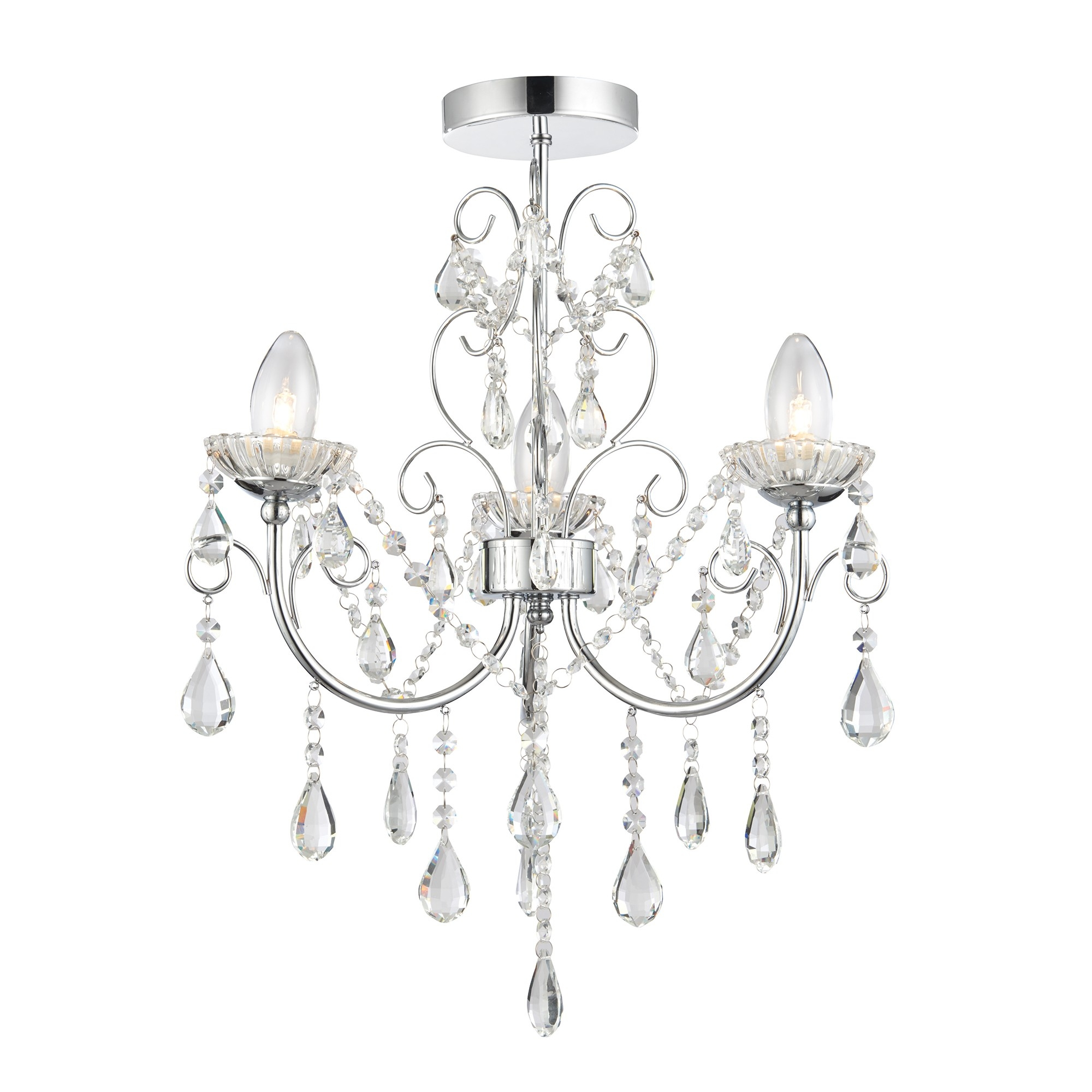 Tabitha Semi Flush Bathroom 3 Light Chandelier With Crystal Glass With Regard To Endon Lighting Chandeliers (View 21 of 25)