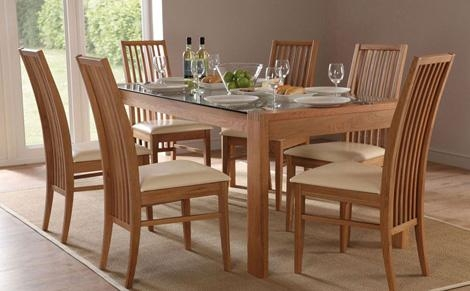 Table Option: Dining Table + 4 Chairs Dining Table + 6 Chairs (+ In Oak Glass Top Dining Tables (Image 20 of 20)